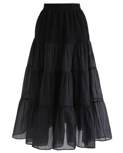 Lightweight Organza Midi Skirt in Black