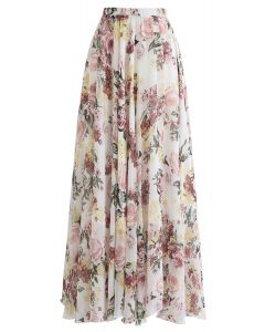 Bright-Colored Floral Maxi Skirt in Cream