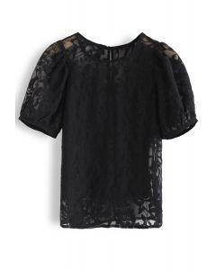 Torn Rose Printed Organza Top in Black