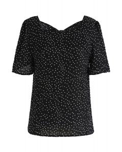 Peekaboo Bowknot Back Dots Shirred Top in Black