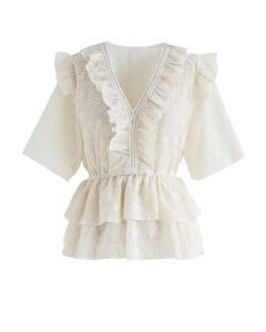 Ruffle Eyelet Embroidery Tiered Peplum Top in Cream