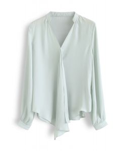 Front Ruffle V-Neck Shirt in Mint