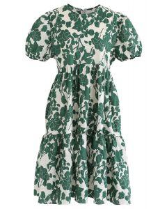 Simple Floral Print Midi Dress in Green