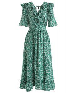 Marguerite Print V-Neck Ruffle Dress in Green