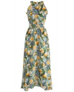 Tropical Fun Printed Halter Neck Maxi Dress