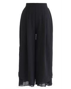 Split Pleated Hem Crop Chiffon Pants in Black