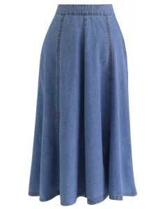 Seam Detail Denim A-Line Midi Skirt in Blue