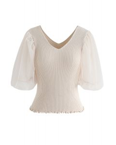 Mesh Sleeves V-Neck Fitted Knit Top in Sand