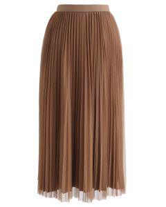 Reversible Pleated Midi Skirt in Caramel