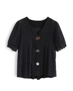 Horn Button Spliced Embroidered Eyelet Top in Black