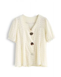 Horn Button Spliced Embroidered Eyelet Top in Cream