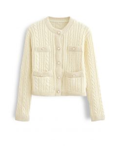 Metallic Edge Button Down Cable Knit Cardigan in Yellow