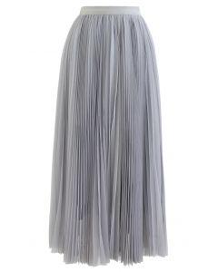 Glittering Mesh Pleated Midi Skirt in Dusty Blue