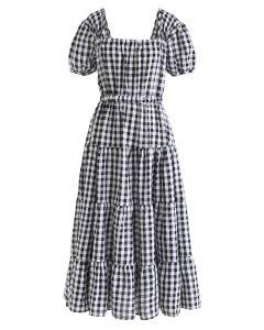 Open Back Drawstring Gingham Frill Midi Dress