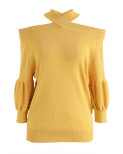 Crisscross Neck Cold-Shoulder Knit Top in Mustard