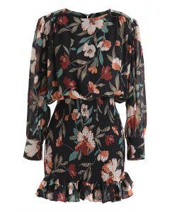Floral Print Shirred Ruffle Chiffon Dress