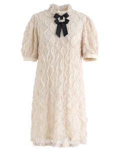 Crystal Brooch Mesh and Lace Shift Dress