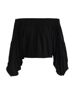 Shirred Off-Shoulder Puff Sleeves Cropped Top