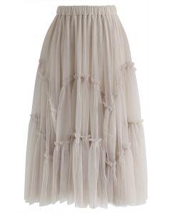 Ruffle Detail Asymmetric Mesh Tulle Skirt in Dusty Pink