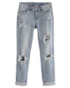 Cutout Folded Hem Skinny Jeans