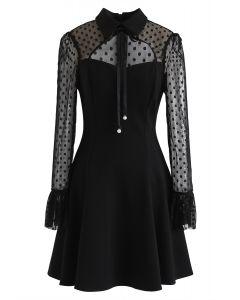 Faux Pearl Bowknot Dot Mesh Dress in Black