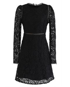 Full Floral Crochet Eyelet Midi Dress