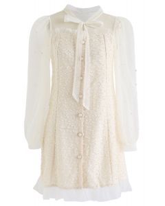 Lace Spliced Pearls Button Down Dress