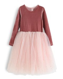 Velvet Sequined Double-Layered Mesh Dress For Kids in Peach