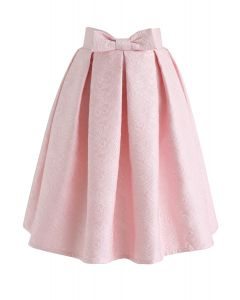 Bowknot Pleated Jacquard Midi Skirt in Pink