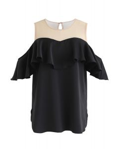 Lace Spliced Cold-Shoulder Top in Black
