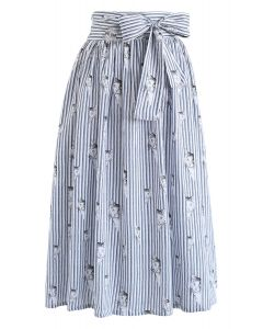 Kitten Print Bowknot Stripes Midi Skirt