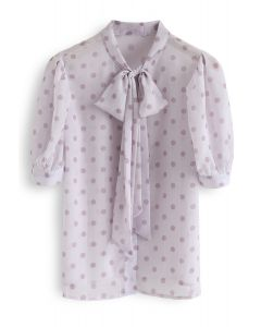 Tie-Neck Dotted Sheer Top in Lilac