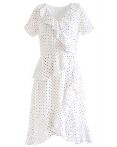 Dots Ruffle Asymmetric Midi Dress in White