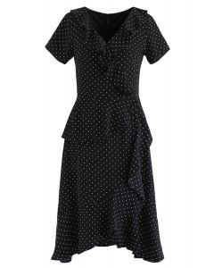Dots Ruffle Asymmetric Midi Dress in Black
