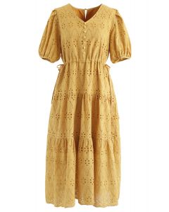 Zigzag Eyelet Floral Embroidered Flare Midi Dress in Mustard