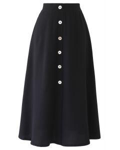 Split Shell Button Trim Midi Skirt in Black