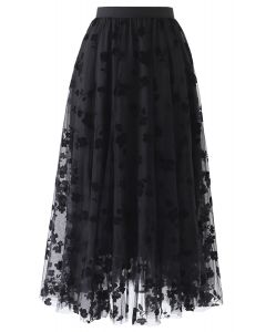 3D Posy Double-Layered Mesh Midi Skirt in Black