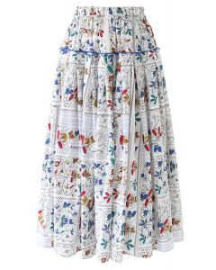 Floral Print Ruffle Pleated Midi Skirt