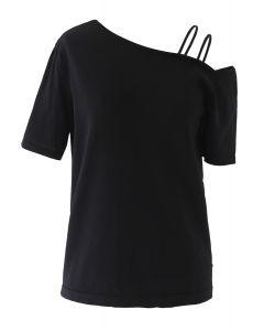 Cold-Shoulder Short-Sleeve Knit Top in Black