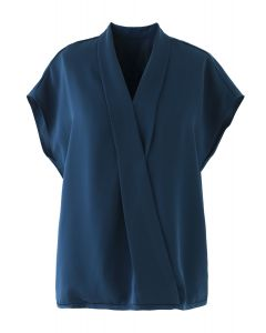 Satin Surplice Neck Sleeveless Loose Top in Peacock