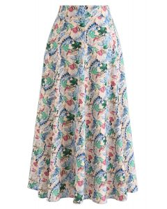 Bright Leaves Print A-Line Midi Skirt