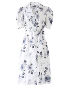 Inky Floral Belted Midi Dress