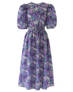 Floral Print Puff Sleeves Midi Dress in Purple
