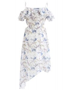 Flower and Leaf Print Asymmetric Cold-Shoulder Dress