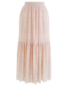 Frill Hem Full Floral Lace Midi Skirt in Peach