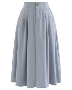 Slant Pockets A-Line Midi Skirt in Dusty Blue
