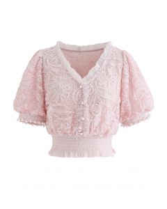Soft Lace Pearl Trim Cuffs Mesh Crop Top in Pink
