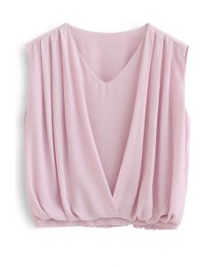 Sleeveless V-Neck Pleated Chiffon Top in Pink