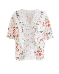 V-Neck Eyelet Floral Print Embroidered Top in Red