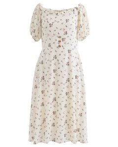Sweetheart Neck Ditsy Floral Ruffle Midi Dress in Ivory